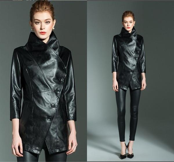 2018 nouvelle tendance courte couleur pure veste de moto dame nouveau style costume col en cuir réparation cuir veste FS5915