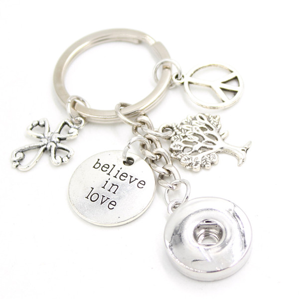 New Arrival DIY Interchangeable 18mm Snap Jewelry Peace Sign Family Tree Key Chain Bag Charm Believe in love Key Ring Gift