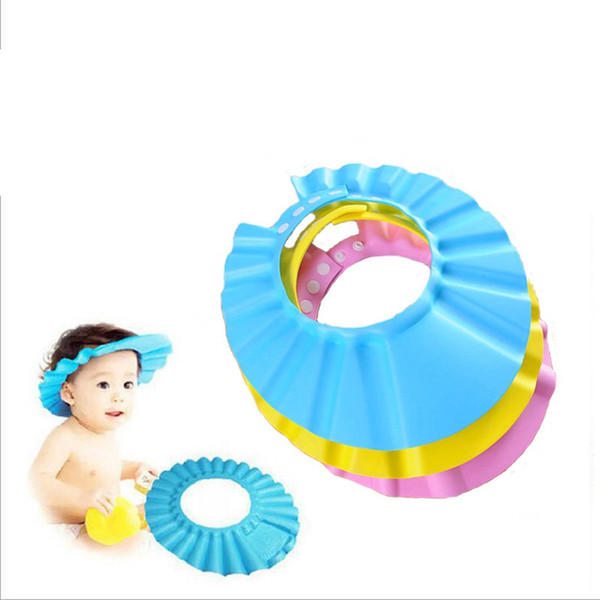 Soft Baby Children Shampoo Bath Shower Cap Kids Bathing Cap Bath Visor Adjustable Hat Wash Hair Shield with Ear Shield Hats