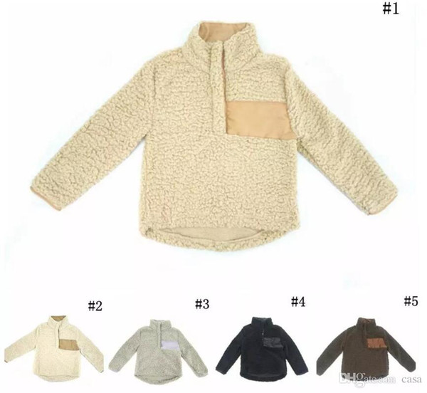 best selling Kids Sherpa Pullover Chrildren Winter Fall Fleece Soft Hoodie Sweatshirt Oversized 1 4 Button Sweaters 20pcs