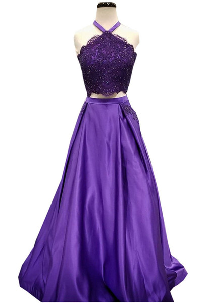 2019 Sexy Halter 2 Pieces Women Prom Dresses Simple Satin Top Lace Beadings Summer Backless Evening Gowns Appliques Beaded with Pockets