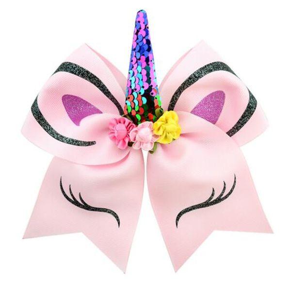 Forma de unicórnio Cheer cabelo arcos grande colorido rabo de cavalo titular laços de cabelo elástico para meninas e mulheres