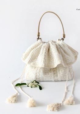 Fresh Forest Lace Girl Bag Lovely Printing Bucket Satchel Simple Retro Cotton Material Bag Detachable lifting handle Bag