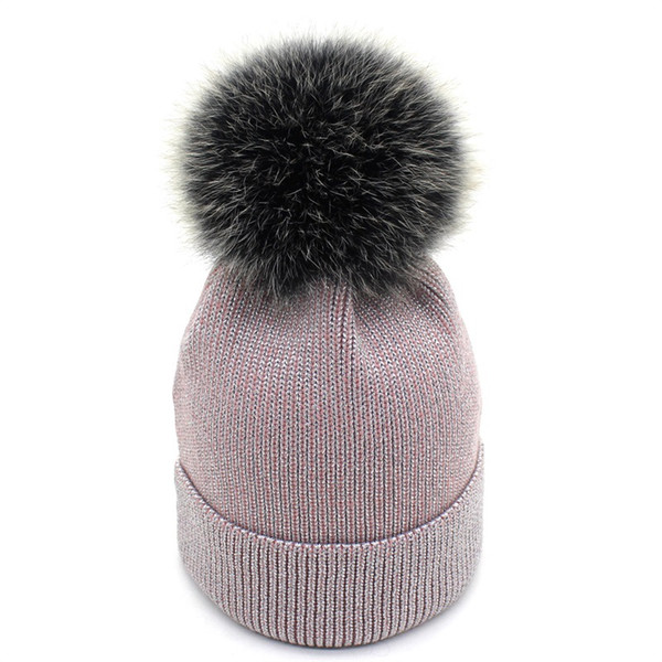 2018 Ladies Korean version of real fur oversized fox fur ball hat winter thickened warm wool knit top hat winter hats