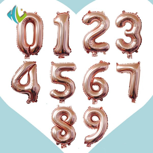 top popular with Retial Packag 32 inch Rose Gold Digit Foil Balloons Number Air Balloon Inflatable Toys Wedding Birthday Decoration Event Party Supplies 2020