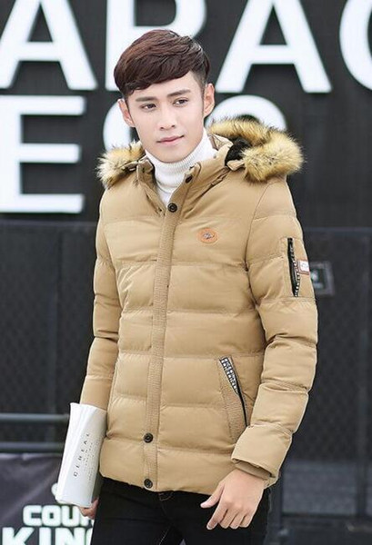 New spot Korean short cotton padded warm men's down cotton hooded fur collar men's cotton coat