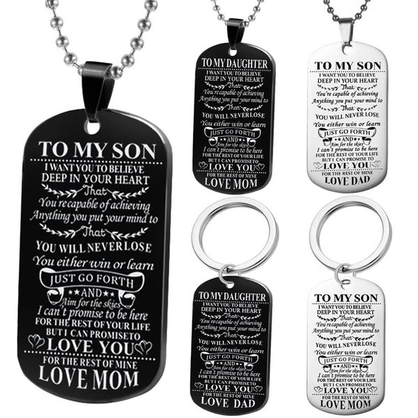 1 pcs Kids Necklace To My Son Daughter Dog Tag Military Necklace Unique Wedding Graduation Birthday Gifts for Son Daughter Christmas Gift