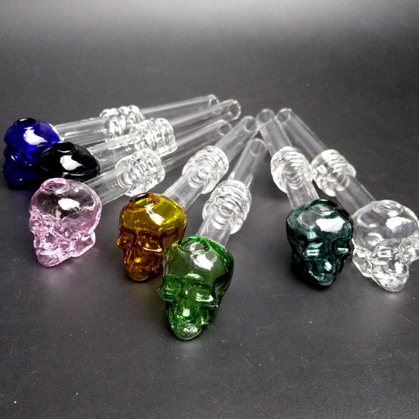 140mm Long Colored Glass Burner Skull Smoking Handle Pipes Smoking Pipes High Quality Burner Oil Burning Pipe Oil Nail Glass Oil Pipe