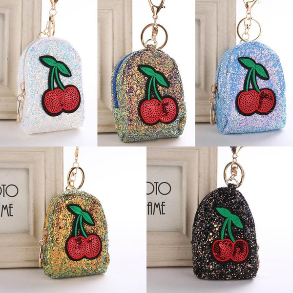 Free DHL Cute Cherry Mini Coin Purse Keychain Charms Bag Accessories Glitter Pompom Sequins Key Ring Gifts Keyfob 6 Styles H879Q