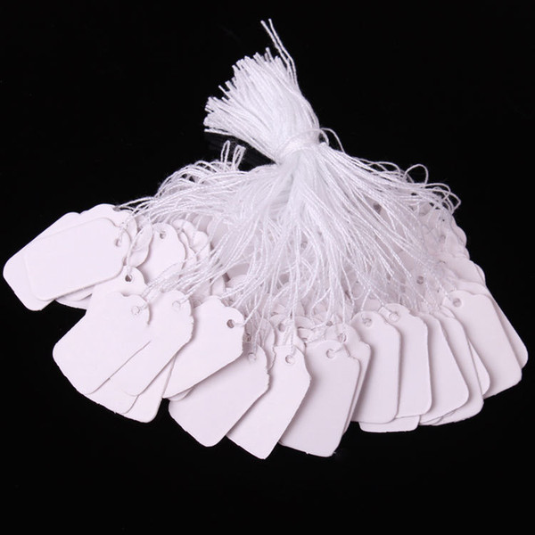 best selling 0.5*1 inch 100pcs lot blank White Price Tags Marking Tags Jewelry Clothing Price Labels products Display Tags with Hanging String 1.2*2.5cm