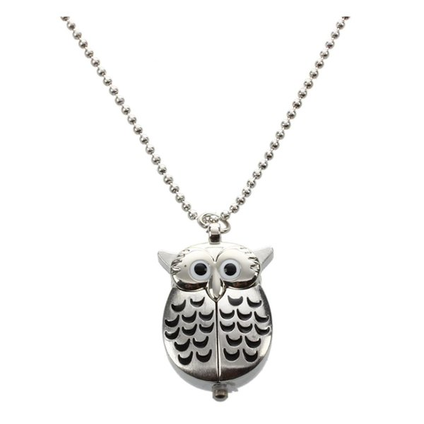 Silver and Black Mini Owl Pocket Watch Necklace
