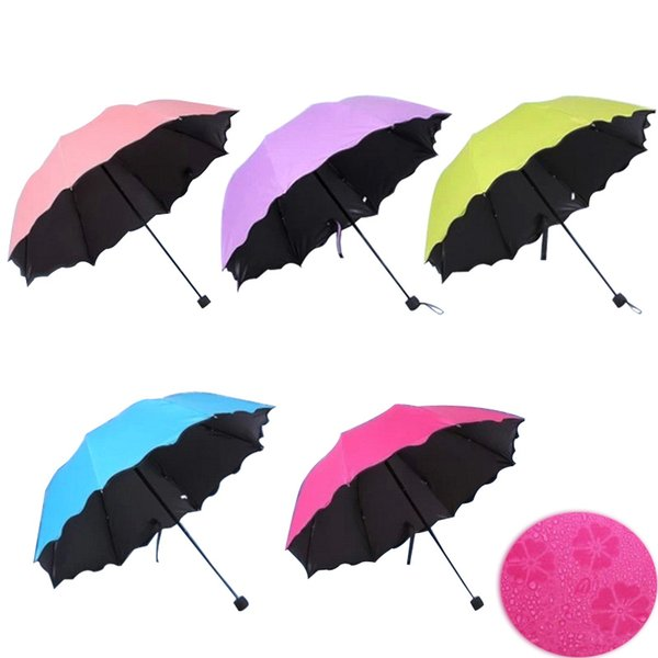 New Lady Princess Magic Flowers Dome Parasol Sun/Rain Folding Umbrella prain women transparent umbrella brass knuckles For Women