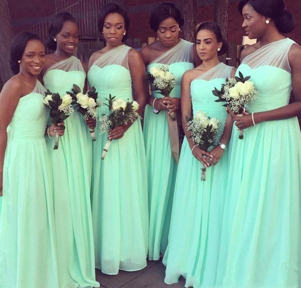 Light Green Bridesmaid Dresses One Shoulder Chiffon Long Maid Of Honor Dress Cheap Custom Made Plus Size Hot Sale Formal Party Gowns