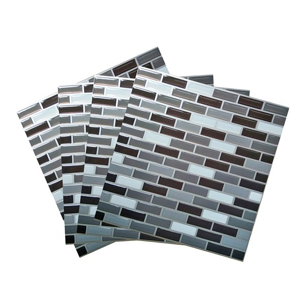 """3D Wall Sticker for Peel and Stick Wall Tiles Kitchen Backsplash Tile 9""""x9"""" Peel and Stick Wallpaper,Set of 4"""