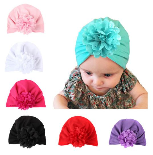 New Arrivals Baby Hat Caps Flower Europe Turban Knot Head Wraps India Hats Ears Cover Kids Children Hollow Flower Bohemia Beanie
