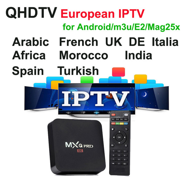 2000+ film VOD Arabo Sport Francese UK DE QHDTV 1 anno 1300+ Europa Streaming IPTV Account Apk per Android mag250 / 254 Enigma2 m3u MXQpro