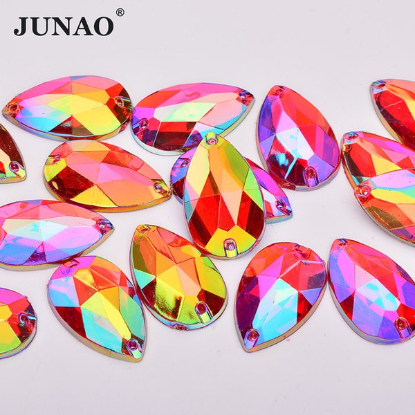 JUNAO 17*28mm Sew On Red AB Crystal Drop Rhinestones Applique Flatback Acrylic Crystal Stones Sewing Scrapbook Beads for DIY Dress