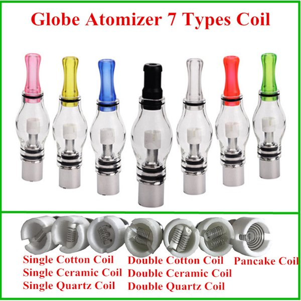 globe atomizer quartz ceramic Pancake coil 7 type coils Wax dry herb vaporizer single dual ceramic Quartz coils electronic cigarette