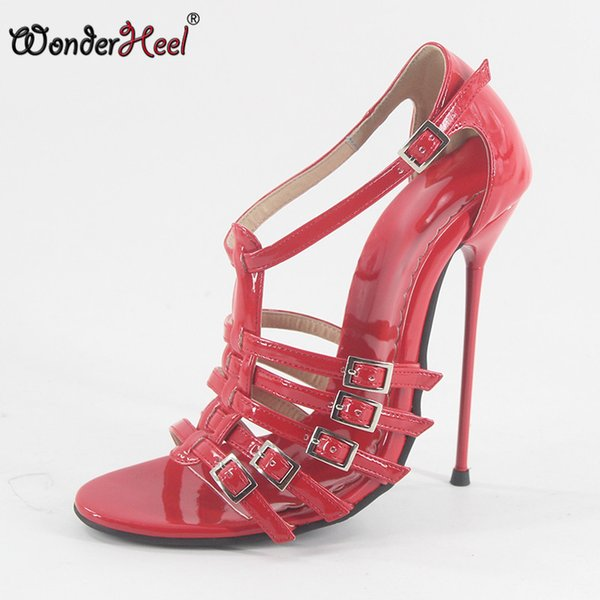 wholesale New Summer sandals ultra high heel appr. 14cm heel sexy buckles straps red patent super thin metal heel women sandals