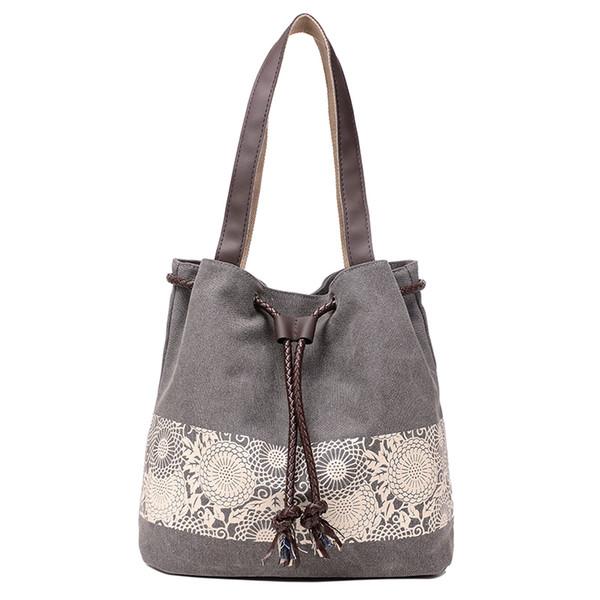 New Women Floral Canvas Bucket Casual Shoulder Bag Spanish Beach Bags Women String Shopping Handbags Lace Printing Bag