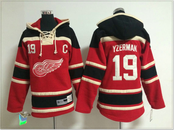 Womens Detroit Red Wings #19 Steve Yzerman Vintage Ice Hockey Shirts Uniforms Sweaters Hoodies Stitched Embroidery Sports Pro Team Jerseys