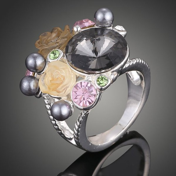 New arrival women fashion jewelry royal diamond alloy rose flower pearl glitter ring Love Valentine's day Christmas festival gift