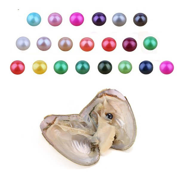 Round Oyster Pearl 6-7mm 2018 new 27 Mix color big Fresh water Gift DIY Natural Pearl Loose beads Decorations Vacuum Packaging wholesale
