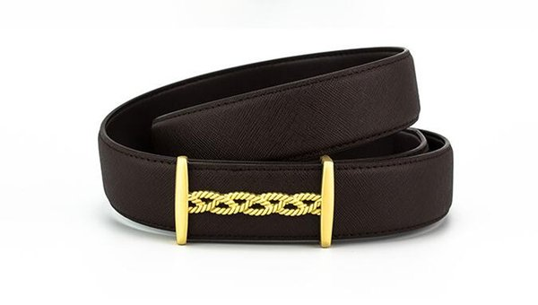 The new style of 2018 top layer cowhide weaving grain high-grade alloy smooth buckle men's belt