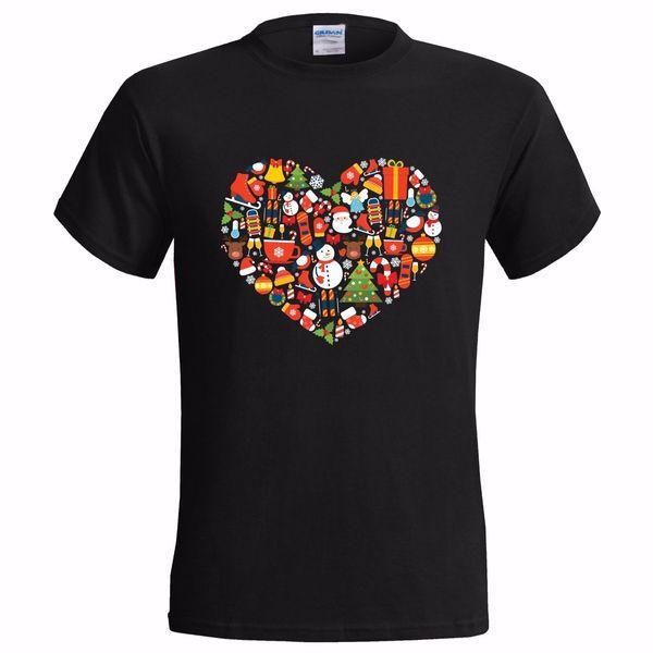 NOEL SİMGELERİ KALP TASARIM MENS T GÖMLEK BASIN SANTA NOEL HEDIYE GIZLI AŞK 2018 Komik Tee Sevimli T Shirt