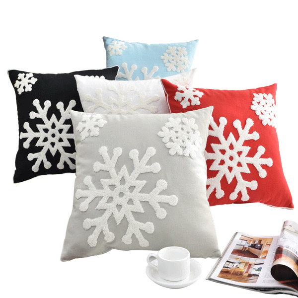 New Snowflake Pillow Case Covers Cotton Line Embroidered Throw Pillow Cushion Cover Home Christmas Decorative Gifts 5Colors DHL HH7-1802