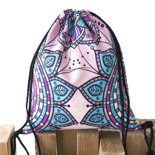 Мода Drawstring сумка 3D печать подростков рюкзак унисекс дорожные сумки Drawstring рюкзак женщины ежедневно повседневная девушка рюкзак