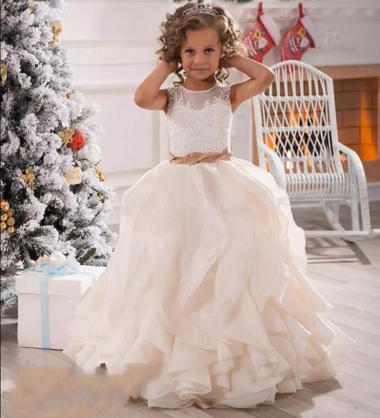 Günstige Blumenmädchen Kleider Für Hochzeiten Illusion Hals Spitze Weiß Elfenbein Schärpen Rüschen Party Prinzessin Kinder Kinder Party Geburtstag Kleider 2018