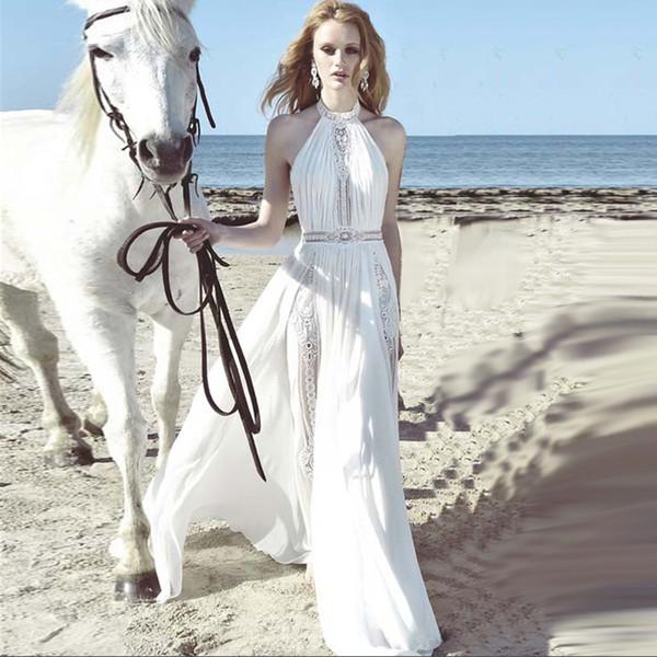womens clothing 2018 luxury white lace halterneck sleeveless beach vacation maxi dress