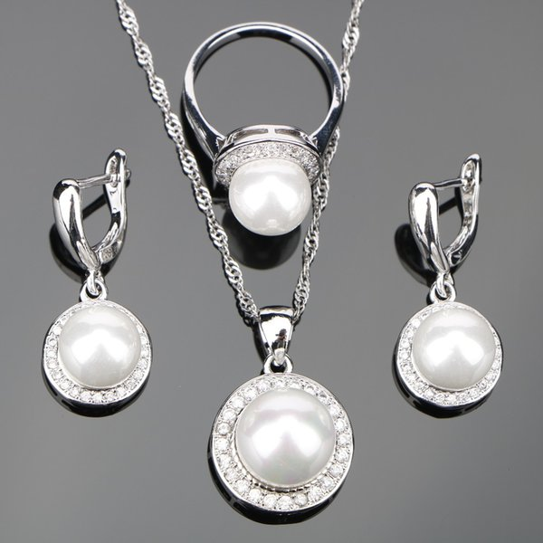 ecklace ring set Natural Freshwater Silver 925 Costume Pearls Jewelry Sets Women Zirconia Earrings Pendant Necklace Rings Set Jewellery G...