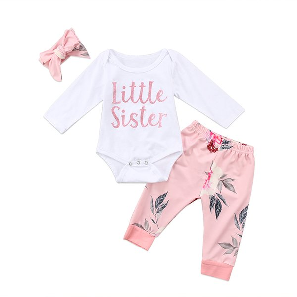 3PCS Newborn Baby Girl Clothes Little Sister Long Sleeve Cotton Romper Tops+Floral Pant Legging Headband Outfit Kid Clothing Set