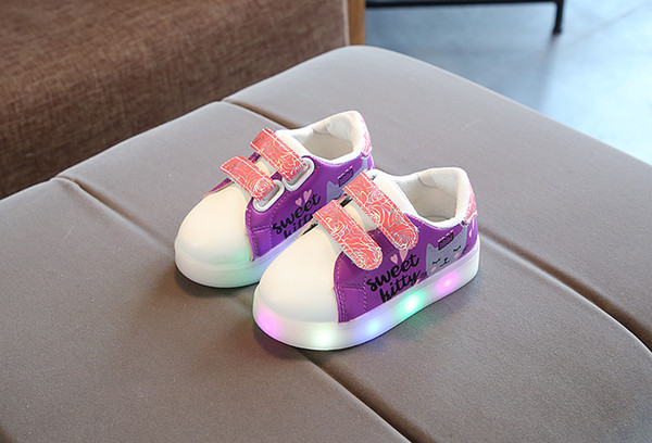 New Children Illuminated Sneakers Girls Glow Lights Shoes Lightweight LED Breathable Casual Shoes kid shoes size 21-30