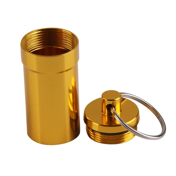 amping Hiking Outdoor Tools Portable Aluminum Alloy Waterproof Pill Medicine Storage Case Holder Container Capsule First Aid Key Ring Key...
