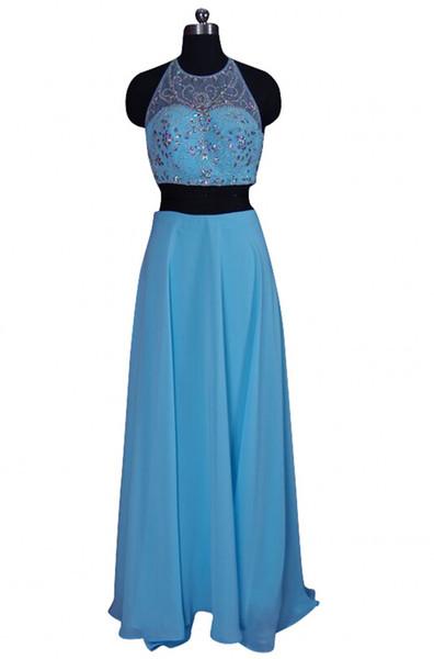 Hot Two Pieces Summer Prom Dresses Great Design Beading Halter Long Chiffon Evening Night Dress Custom Made