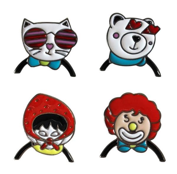 Acheter Clown Ours Chat Fille Petite Taille Dur émail Broches Broches Mignon Dessin Animé épingles De Revers Pour Femmes Hommes Vêtements Sac à Dos