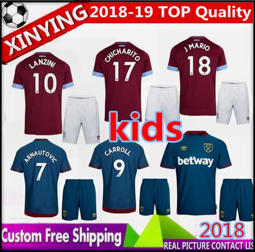 18 19 KIDS West Ham United soccer jersey KIT 2018 2019 CHICHARITO ZABALETA  Arnautovi CARROLL LANZINI PAYET NOBLE J.MARIO boys football shirt 23fa856a7