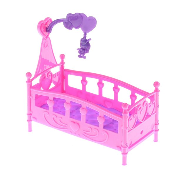 Mini Cute Bed Doll Accessories Furniture Cute Doll Baby Bed For Princess Plastic Toy Fantasy Sweet Dream Bedroom