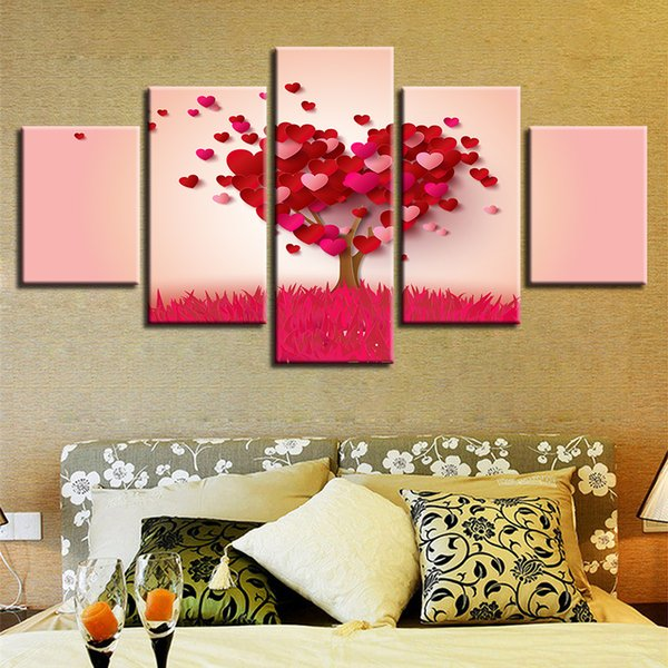 Modern Abstract Red Heart Shape Tree Canvas Painting 5 Panel No Frame Wall Art Picture Home Decor Lover Gift