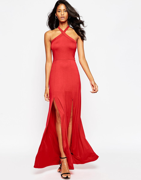 Womens halter dresses ladies fitted slim stretch backless maxi long dress Cocktail evening formal Party dress 2228