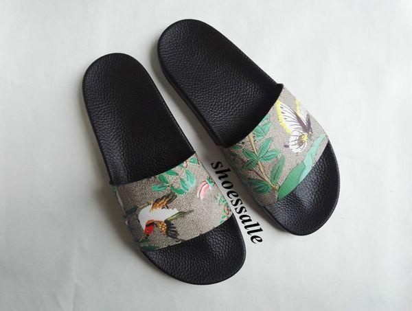 2018 mens and womens fashion bird butterfly print slide sandals flat rubber flip flops size euro 35-45