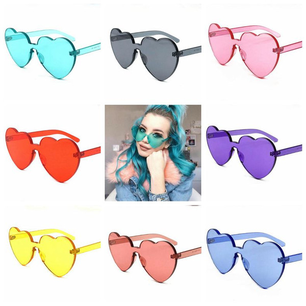 8 Colors Love Heart Shape Sunglasses Women Rimless Frame Tint Clear Lens Colorful Sun Glasses Outdoor Eyewear CCA9304 10pcs