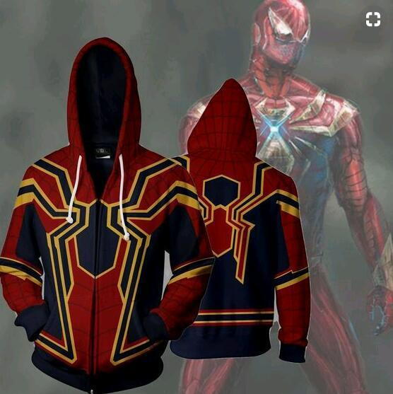 Men's Marvel movie : Infinity War Iron spider man zipper jacket hooded coat 3D printing casual cosplay streetwear