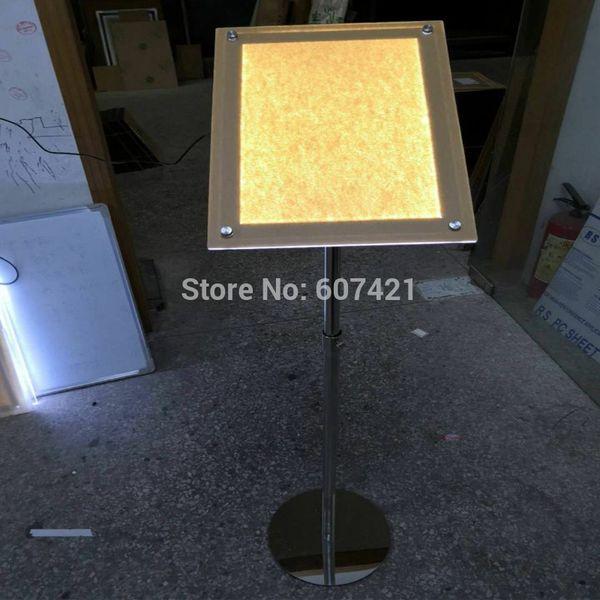 A4 Einstellbare Boden Led Light Box Zeichen Stand, beleuchtete Podest Poster Displays