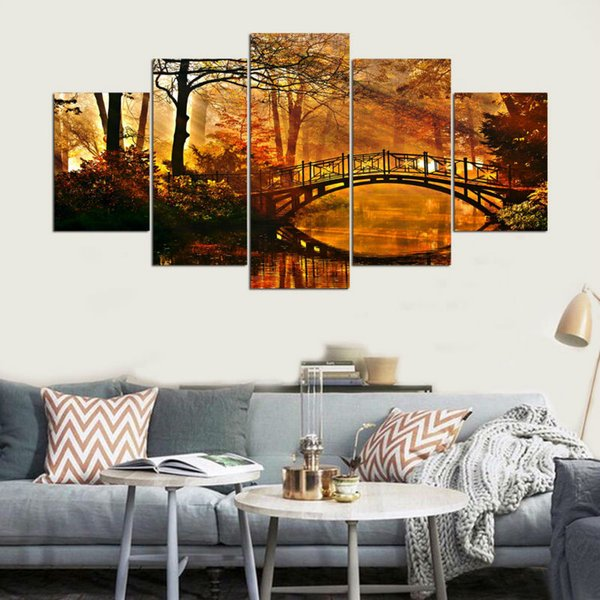 Modular Picture Canvas Wall Art 5 Panel Frames HD Print Autumn Scenery Canvas Painting Modern Office Living Room Home Decoration