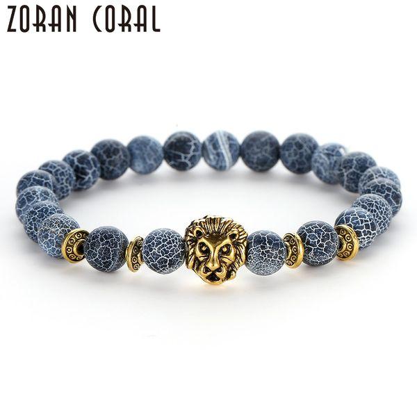 Men's Charm Bracelet Fashion Personality Silver Lion Natural Stone Stretch Line Yoga Bracelet Women's Jewelry pulseira masculina