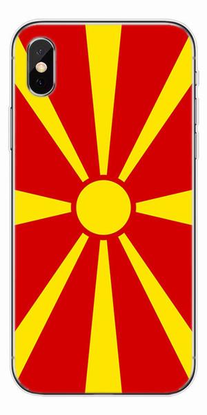 [TongTrade] Yumuşak Silikon TPU Lüks Renkli Boyama Kılıf iphone X 8 7 6 s 5 s Artı Makedonya Bayrağı Galaxy S9 S8 S7 S6 Kenar Artı Vaka